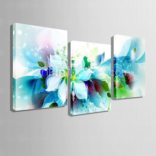 conjunto de lona de 3 flores azules abstractas modernas lienzo de la lámina listo para colgar 2017 - $61.99