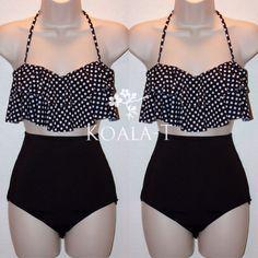Black Polka Dots Flounce Halter Top & Black High Waist Bikini