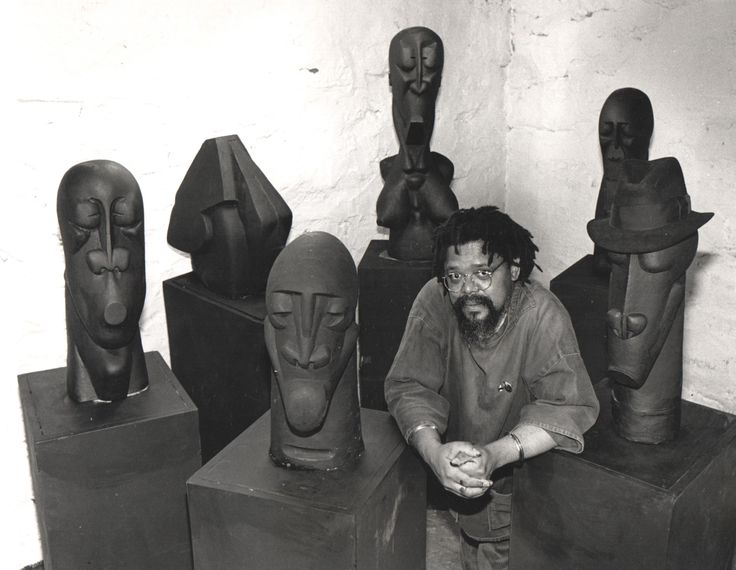 Dumile Feni in his studio in New York in the early 1980's.