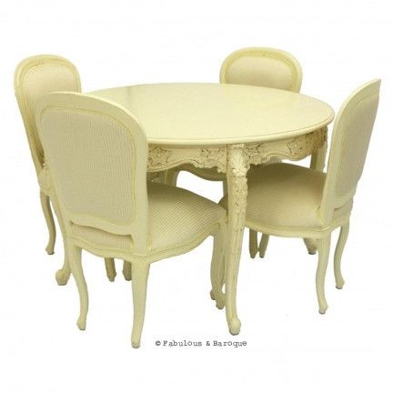 Cherise 48 Round Dining Table 4 Chairs Ivory Ornate Modern