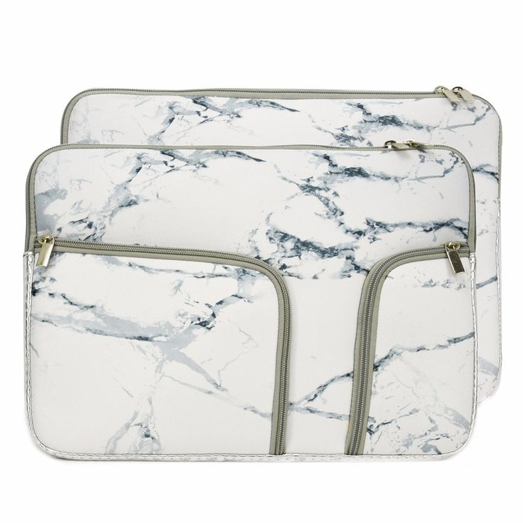 """TOP CASE - Handy Zipper Sleeve Bag with Pockets / Compartments for All Laptop 13"""" 13-inch Laptop Notebook / Macbook / Ultrabook / Chromebook - Marble White"""