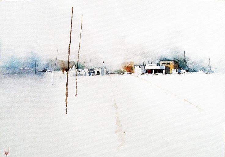 """Winter Sand"" by S Khan. #watercolour #painting #landscapepainting  16 x 12 inches. #art #artwork #watercolor #minimalart #minimalismart #minimalism"