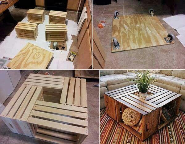 Un tavolino da caffè realizzato con cassette di legno recuperate. Funzionale e low cost!