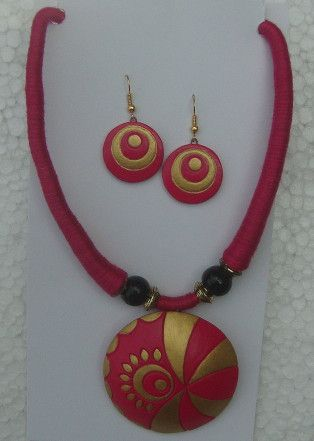 pink golden handmade terracotta jewellery set wholesale export