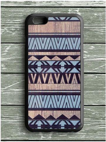 Blue Aztec Pattern Art Wood iPhone 6S Plus Case