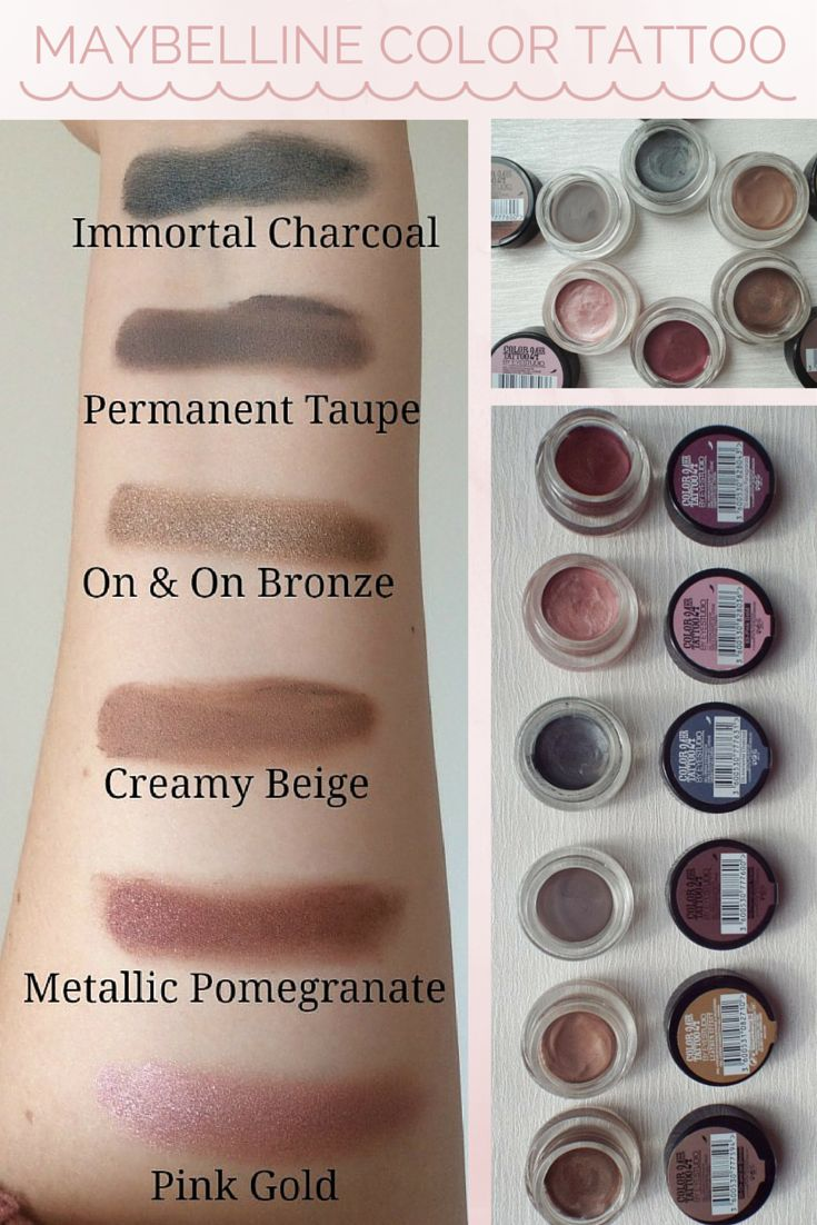 Maybelline Color Tattoo Eyeshadow Review & Swatches