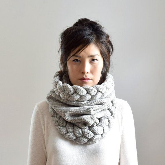 Super Chunky Cowl Scarf Cable Knit Infinity Scarf Warm by IRISMINT