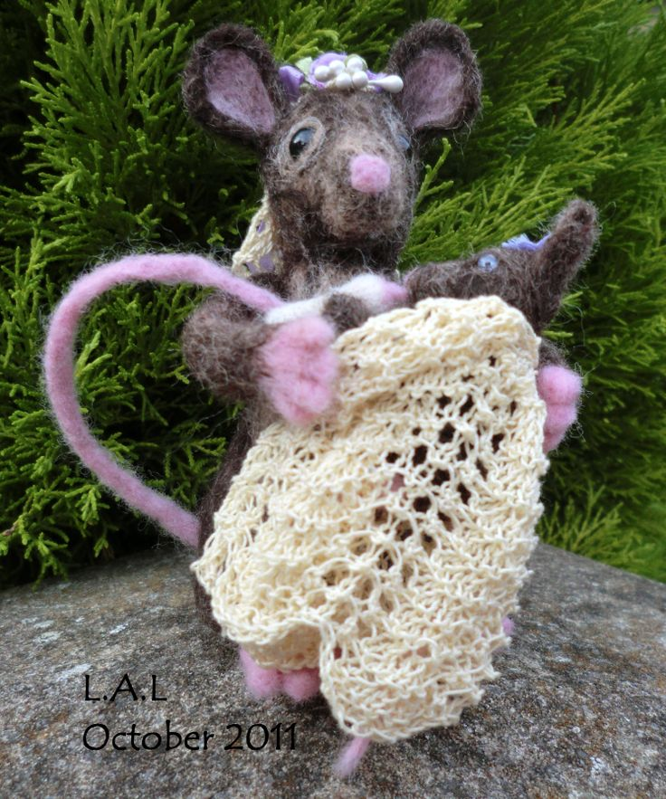 Needle felt Mother Mouse & Baby created by It's By Clare