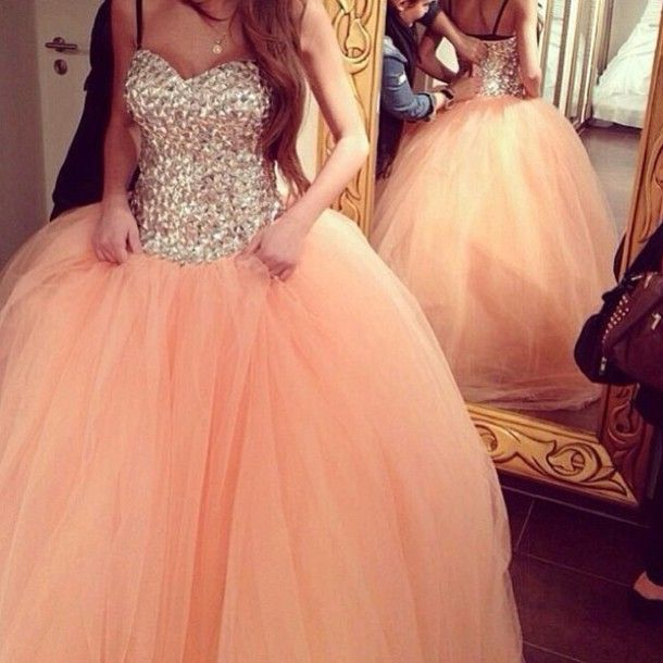 Dress: rhinestone, prom dress, ball gown, pink dress, long prom dresses, puffy dress, sparkles, sparkly dress, peach dress, jewelled dress, ball grown jewelled, coat, quinceanera dreses, pinkish - Wheretoget