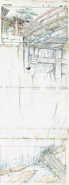 Film: Spirited Away (千と千尋の神隠し) ===== Layout Design - Scene: Below The Bridge ===== Hayao Miyazaki