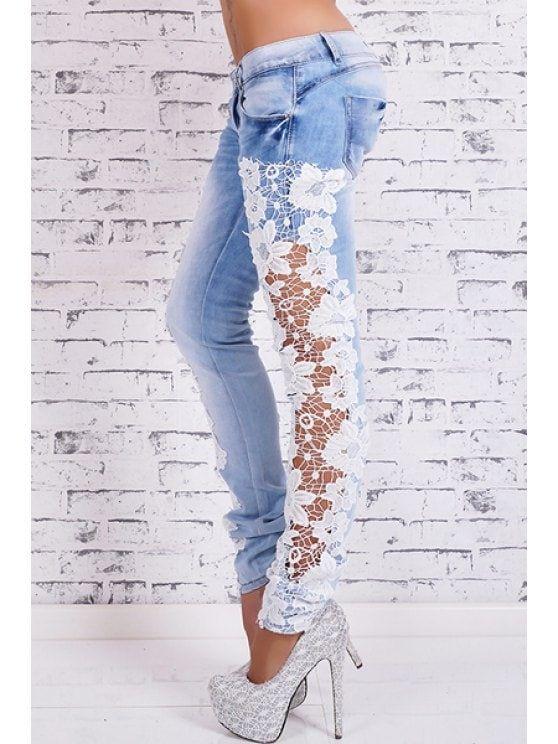 Bleach Wash Lace Spliced Pencil Jeans - LIGHT BLUE S