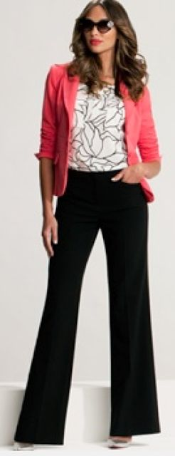 Outfit Posts: outfit post: coral jacket, print blouse, black pants