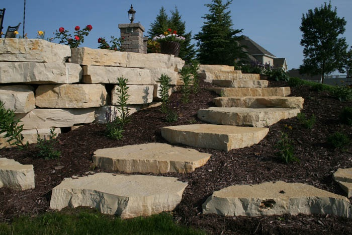 Natural Stone Stairs : Best images about retainer wall boulders outcroppings