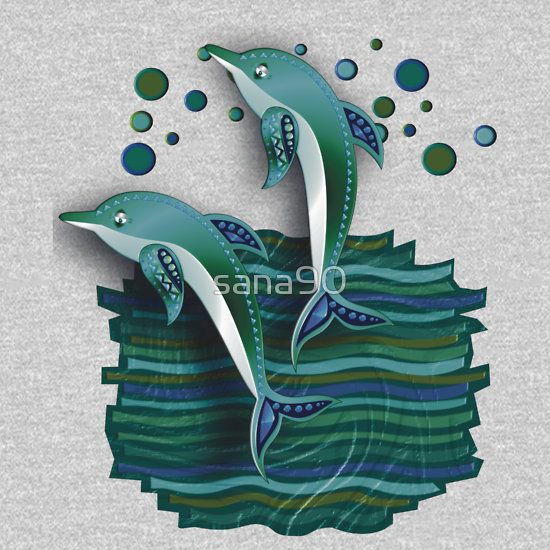 DOLPHINS ON A  WAVE