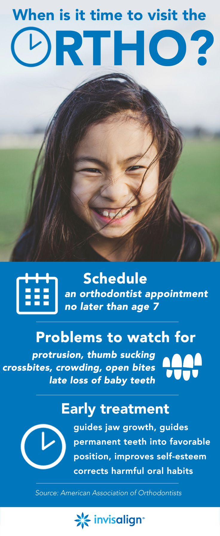 The American Association of Orthodontists recommends that children go to their first orthodontist appointment no later than age 7. By this time, it is usually possible to tell if a child has issues like excessive crowding, spacing, an overbite, underbite, and more.   Ready to make an appointment? Find a Doc in your area here: