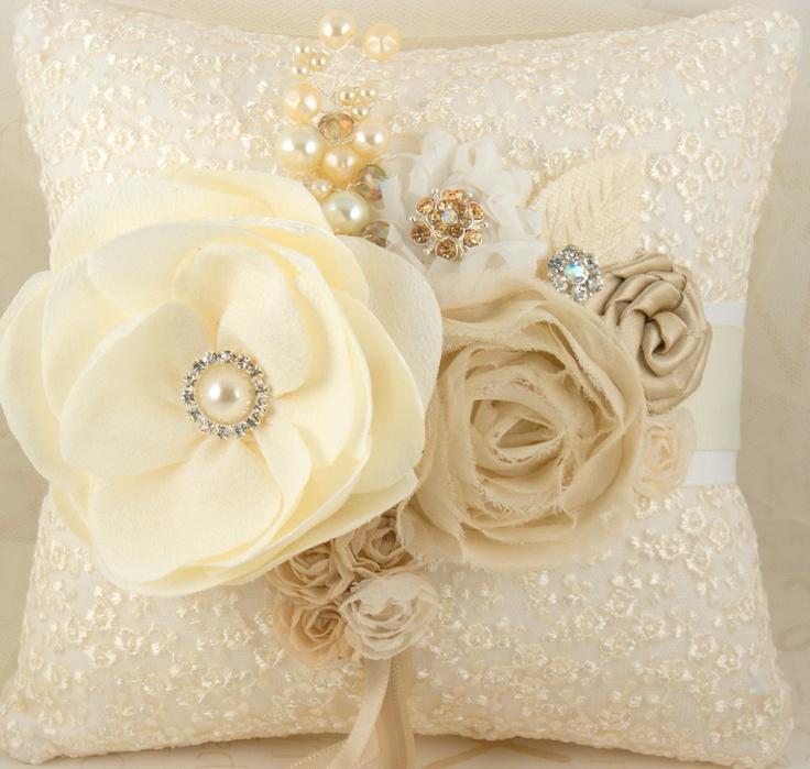 Vintage romance ring bearer pillow