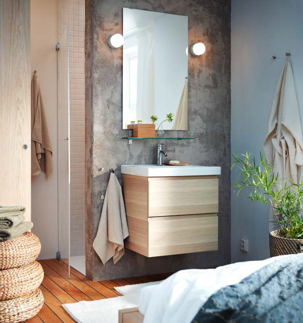 Floating vanity, mirror & sconces, glass shelf