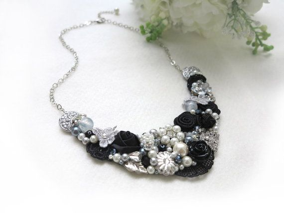 Silver, Black - Handmade Statement Necklace - Neck Swag - Bib Necklace - Maid of Honor - Bridal - Wedding - Classic - Vintage - Party - OOAK on Etsy, $57.00