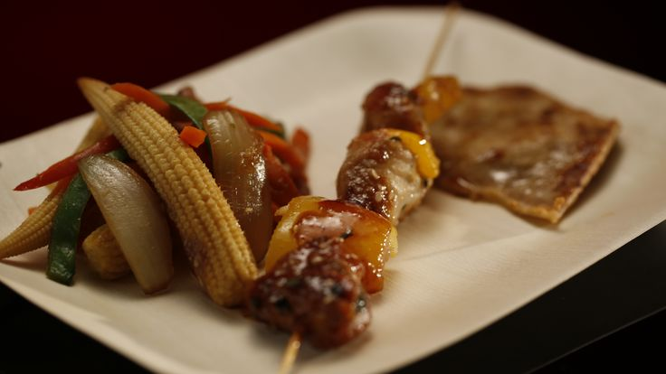Ali and Samuel's Chicken Skewers with Stir-Fried Vegetables from season 4 of MKR: http://gustotv.com/recipes/lunch/chicken-skewers-stir-fried-vegetables/