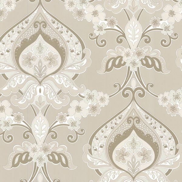 Sample Ashbury Beige Paisley Damask Wallpaper design by Brewster Home Fashions