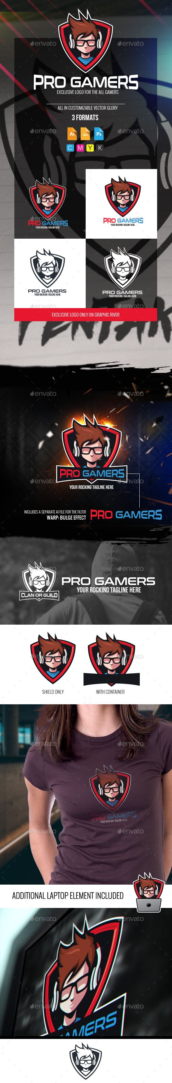 Pro Gamers Logo — Photoshop PSD #clan #cartoon • Available here → https://graphicriver.net/item/pro-gamers-logo/18876779?ref=pxcr