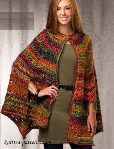 Lovely Autumn colours. Crochet Cape Pattern Free