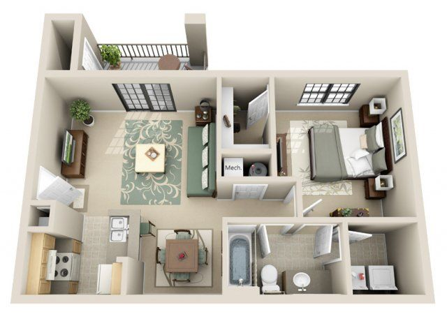 Our 1 Bedroom Apartment Small House Plans One Bedroom House Plans Apartment Layout