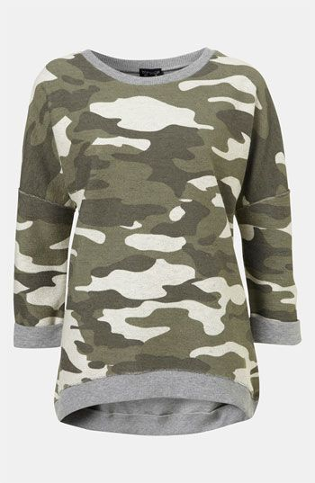 Sir Yes Sir! Love this Top!  Topshop Camouflage Sweatshirt available at #Nordstrom