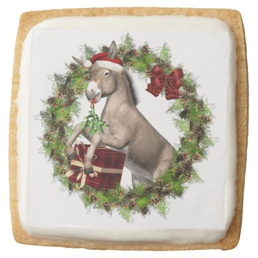Italian Christmas Donkey Santa premium shortbread cookies are sure to make your holidays a little sweeter! A great addition to your holiday festivities, parties or a wonderful gift for family and friends too!  For more delicious cookies, treats and gifts with this art design please visit our shop! #donkey #shortbreadcookies #christmasdessert #christmasdonkey #italianchristmasdonkey #christmascookies #zazzle