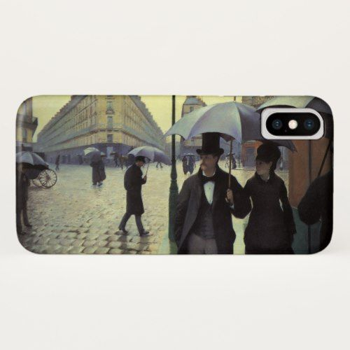 Paris Street Rainy Day by Gustave Caillebotte iPhone X Case