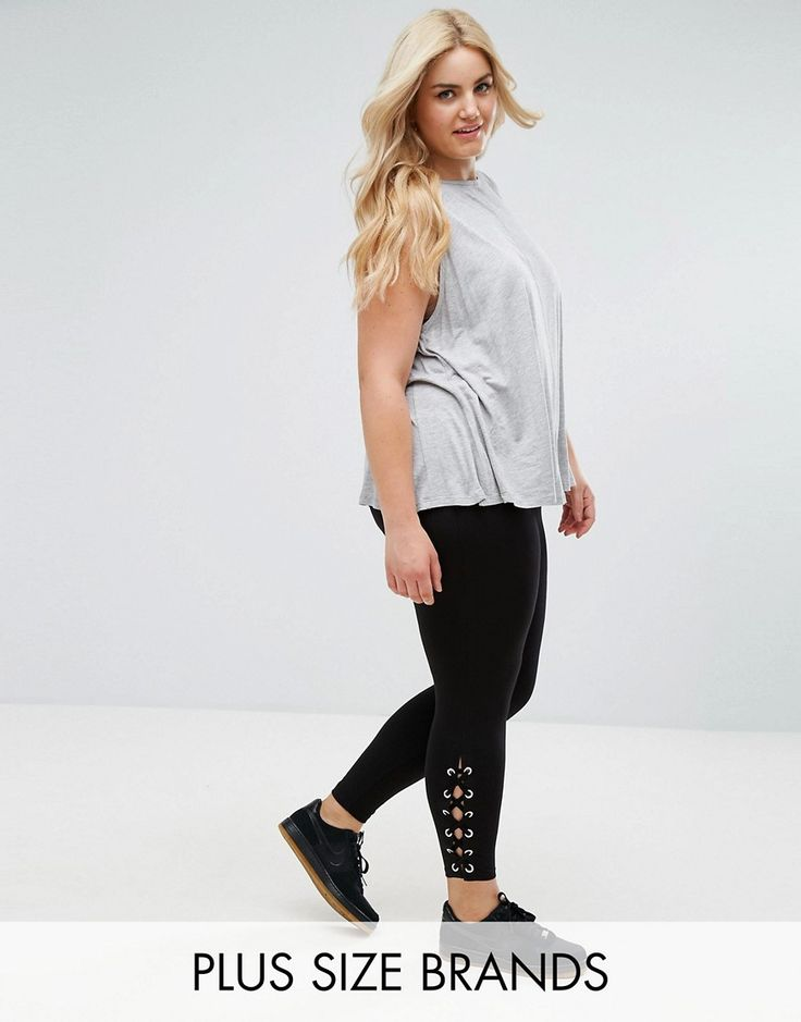 New Look Curve Lace Up Side Legging - Black