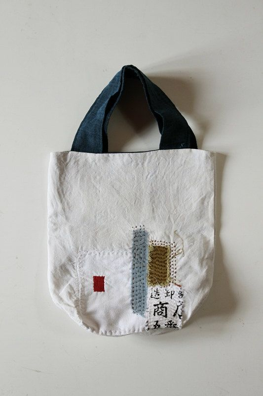 Antique linen patchwork boro tote bag/small/Japanese/french