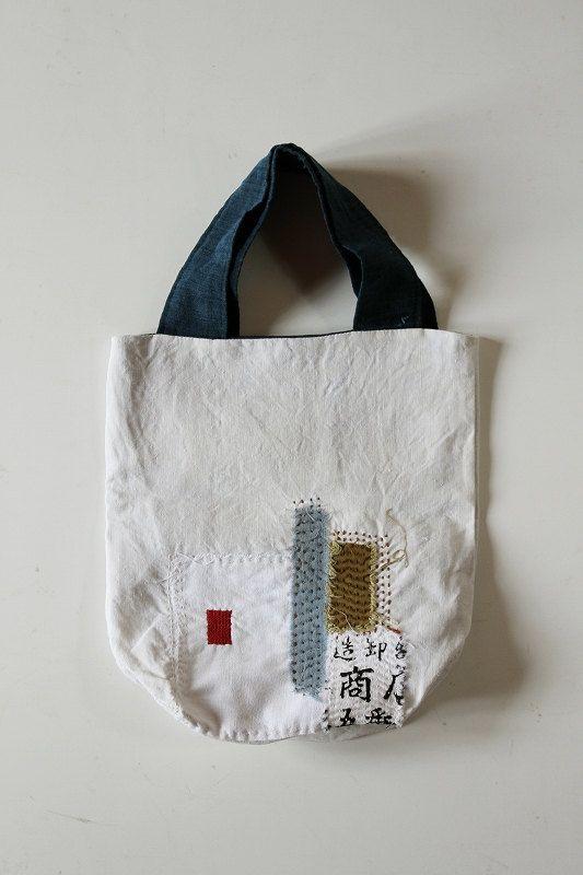 Antique linen patchwork boro tote bag/small/Japanese/french linen/sashiko/needlework/cotton