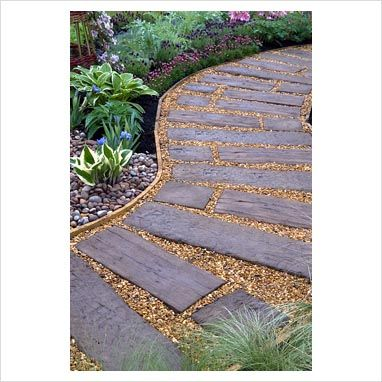 GAP Photos - Garden & Plant Picture Library - Curved path of reused railway sleepers and gravel - 'The Inside Out Garden', Silver Award Winner - Malvern Spring Show 2010 - GAP Photos - Specialising in horticultural photography