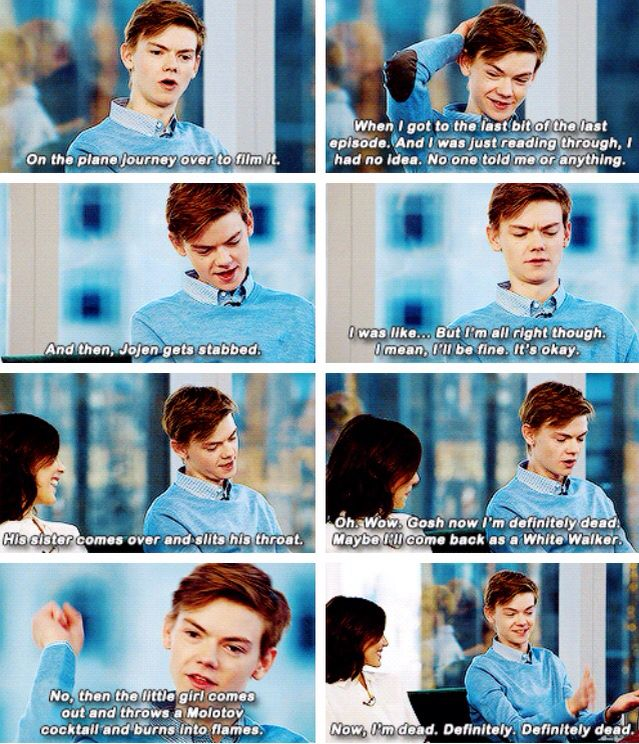 I beg your pardon Jojen Reed does not die in the books...and his sister definitely does not slit his throat.... :/