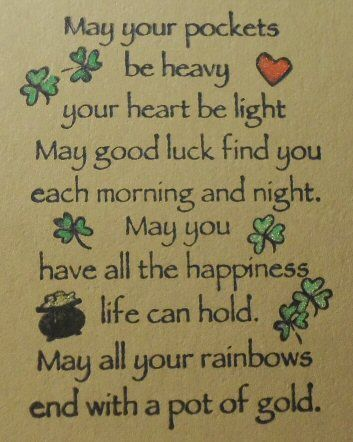 St. Patrick's Card (Inside) ... Irish blessing ....