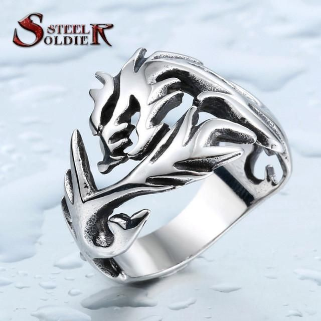 Steel soldier Wholesale Fashion Jewelry Dragon Rings Men High Quality Stainless Steel