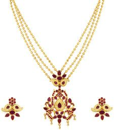 Buy Gold Plated Ruby Stone Ball Necklace Set necklace-set online