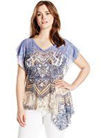 OneWorld Women's Plus-Size Asymmetrical Short Sleeve Snit Top with Lace Back