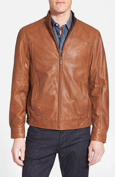 Missani Le Collezioni Leather Bomber Jacket available at #Nordstrom
