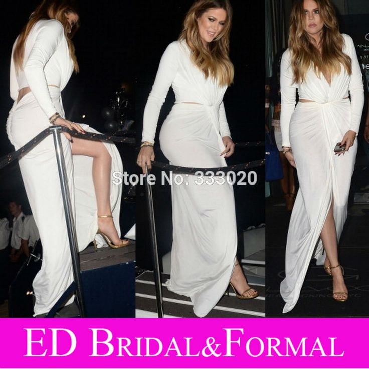 Khloe Kardashian 30th Birthday Party Long Sleeve Plunging V Neck High Slit Jersey Evening Gown Sexy Prom Gown with Cutout Back