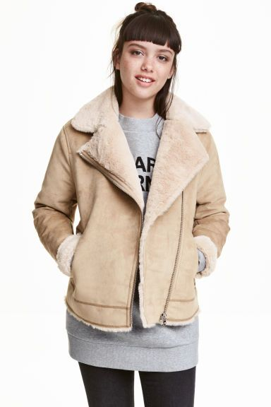 Faux fur-lined biker jacket: Biker jacket in imitation suede with decorative seams, a diagonal zip, notch lapels, zipped side pockets and faux fur lining.