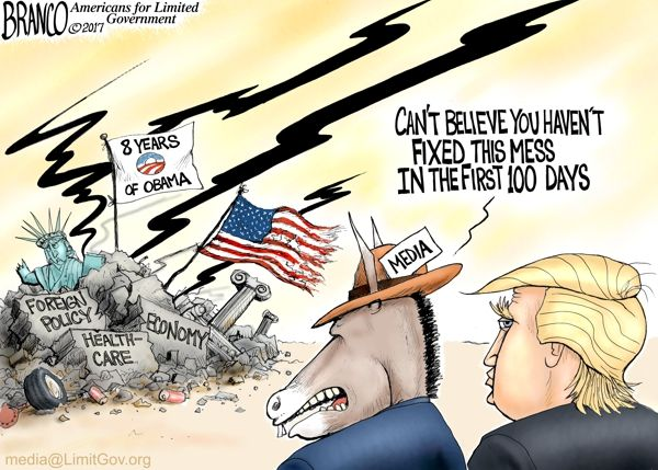 Cartoonist A.F. Branco pictures the mess left behind by the failed Obama Administration and how it might take more than the 100 days the media gave him to clean it up.