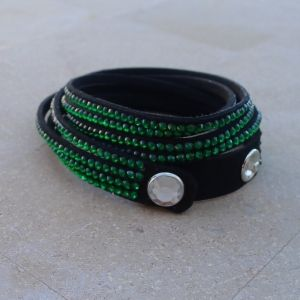 Bracelet, 4-strand wrap, Black / Green / Clear, 13mm wide, with snap closure.