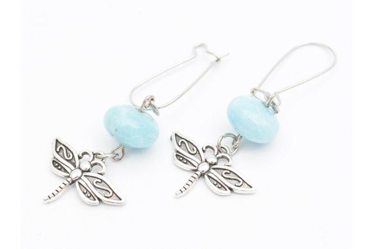Cercei handmade Angelit si Libelula
