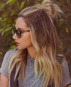 Top knot half up hairstyle