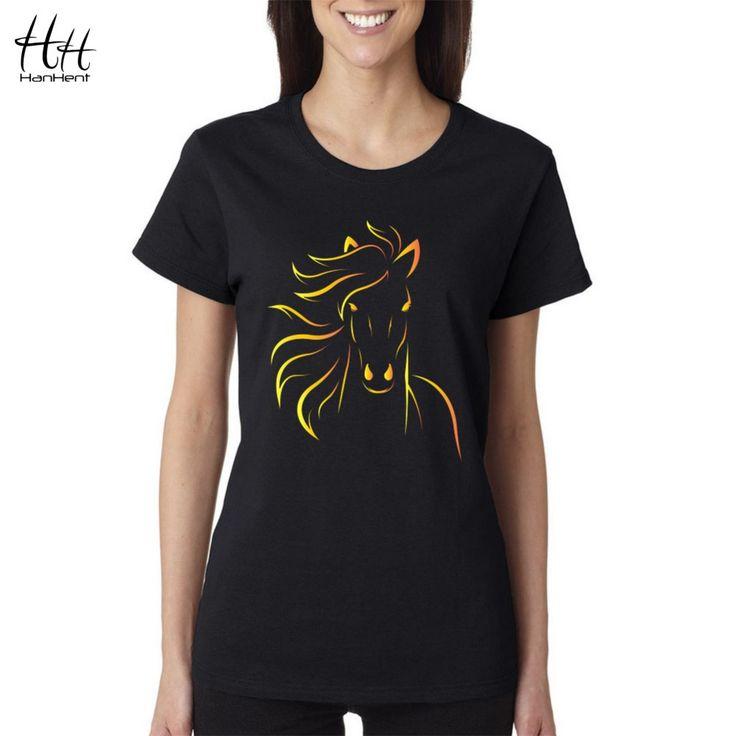 Hanhentブランドデザインプリント馬の女性tシャツ2016新しいファッション夏ショートスリーブtシャツの女の子セクシーな黒tシャツ原宿