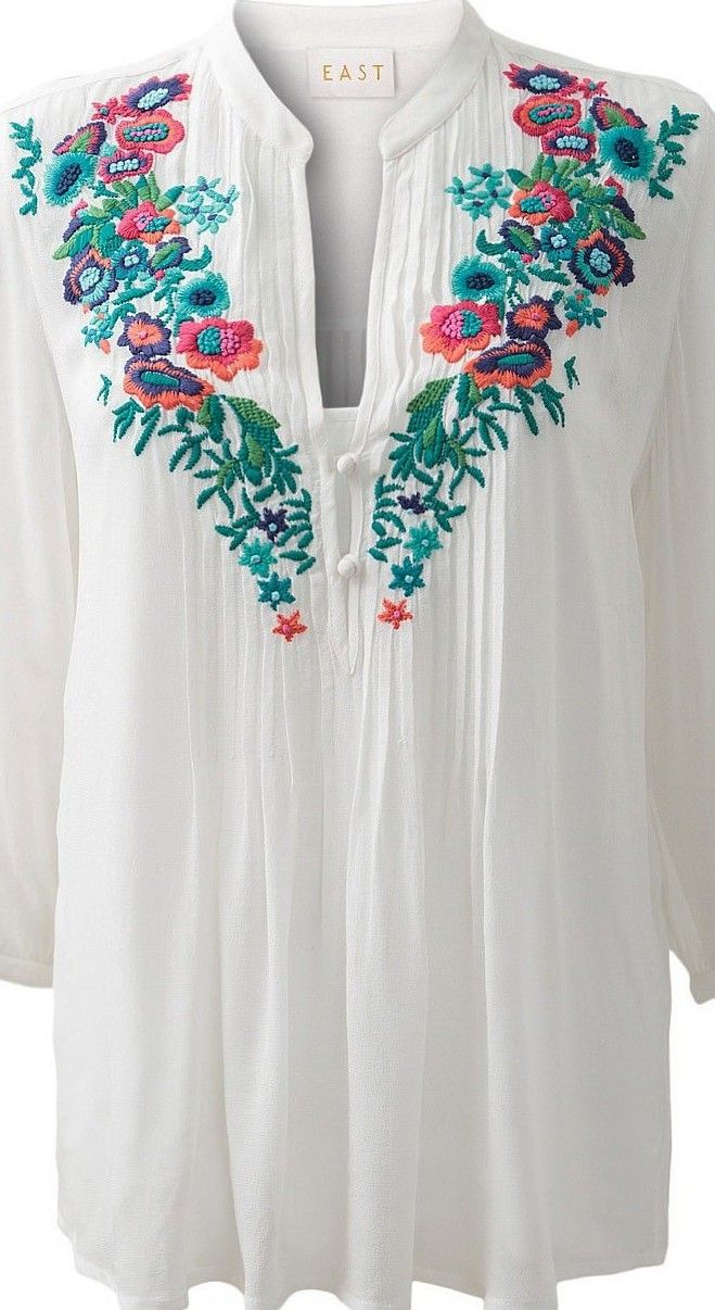 "Folk embroidered top - ""Embroidered Boho Tops, Dresses, More"" - (article) - http://boomerinas.com/2014/01/24/embroidered-boho-tops-dresses-more-2014-trends/"