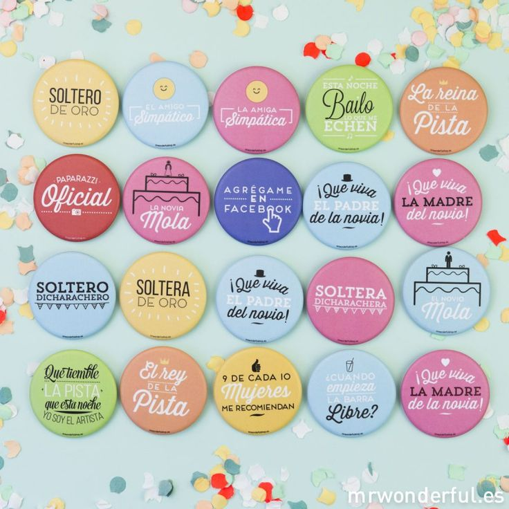 Chapas mate superchulas para bodas en color - Pack 20 ud.