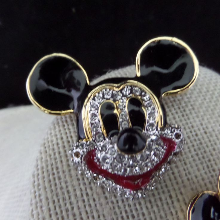 Disney Rhinestone Studded Mickey Mouse Head Jewelry Pin